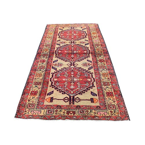 Red Vintage North West Persian Serab Pure Wool Wide Runner Hand-Knotted Oriental