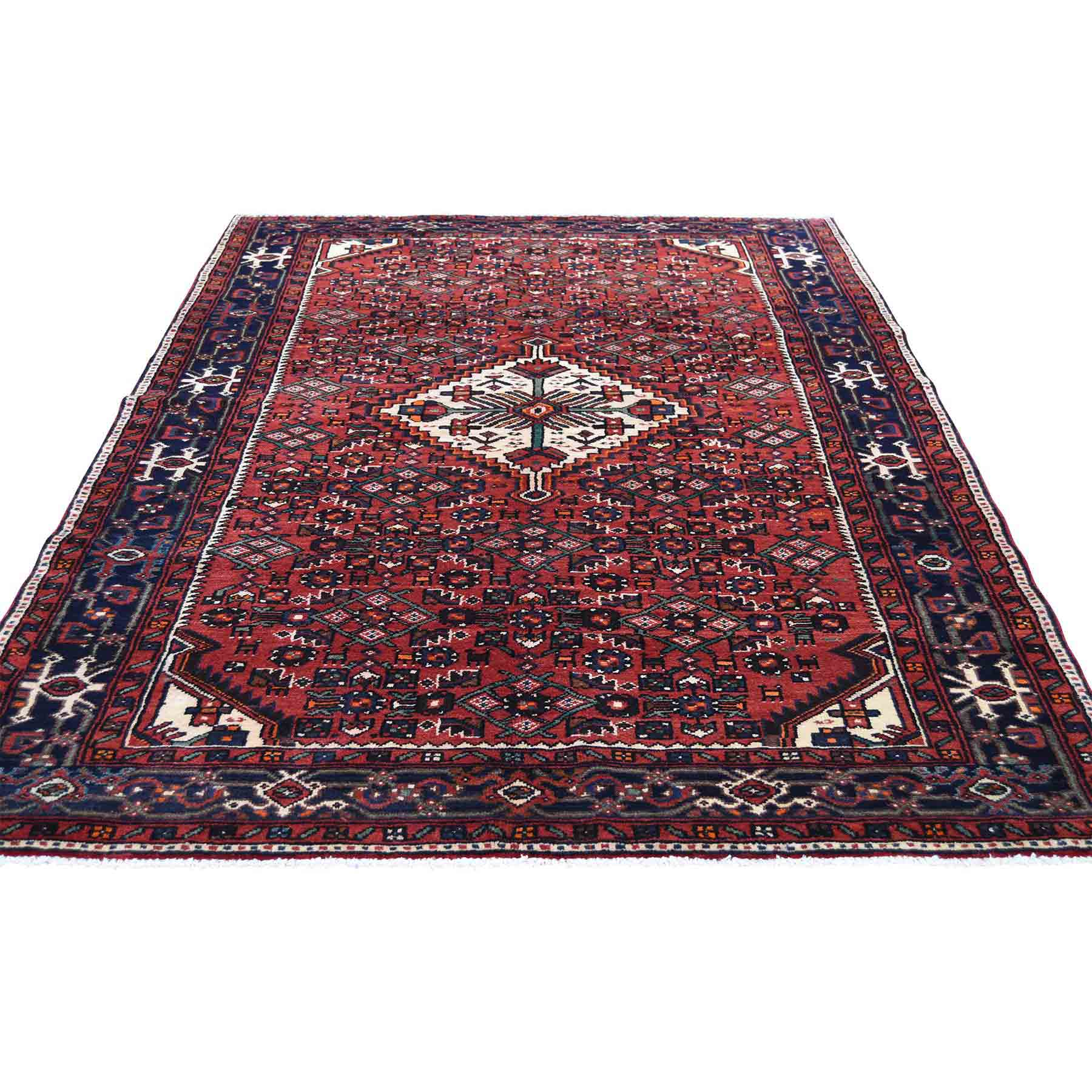 Oriental Rugs Red Bank Nj: Red New Persian Hussainabad Pure Wool Hand-Knotted