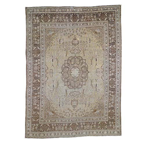 Sand Antique Persian Tabriz Birds and Trees Design Pure Wool Even Wear Hand-Knotted Oriental