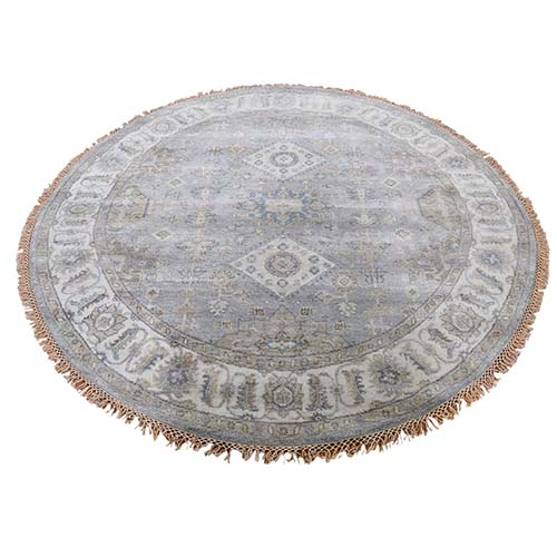Gray Karajeh Design Pure Wool Gray Hand-Knotted Round Oriental