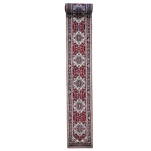 Red Indo Heriz Pure Wool XL Runner hand-Knotted Oriental Rug