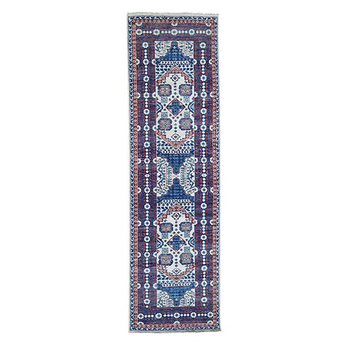 Ivory Mamluk Design Veg Dyes Hand Spun New Zealand Wool Oriental Wide Runner