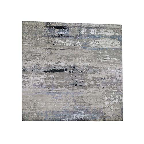 Grey Hi-Low Pile Abstract Design Wool & Silk Square Hand-Knotted Oriental Rug