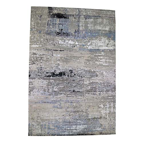 Hi low Pile Gray Abstract Design Oversized Wool And Silk Hand-Knotted Oriental Rug