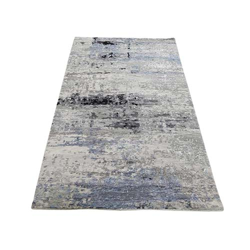Gray Hi low Pile Abstract Design Runner Wool And Silk Hand-Knotted Oriental