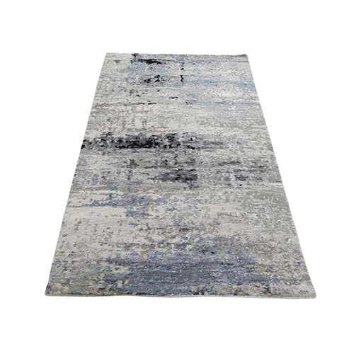 Gray Hi low Pile Abstract Design Runner Wool And Silk Hand-Knotted Oriental Rug