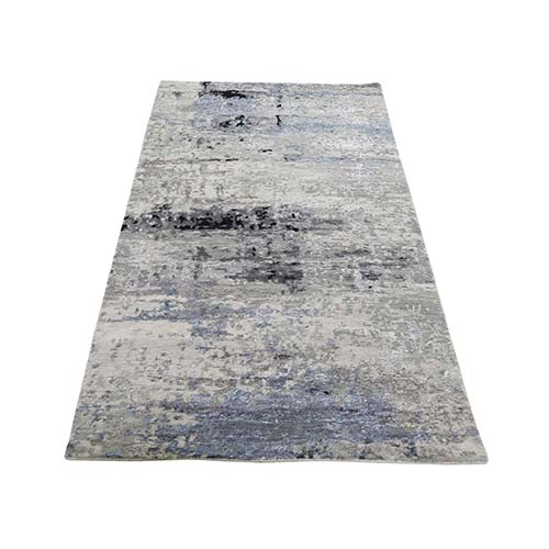 Hi low Pile Abstract Design Runner Gray Wool And Silk Hand-Knotted Oriental Rug
