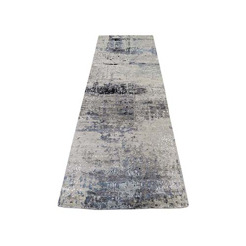 Hi-Low Pile Abstract Design Wool And Silk Runner Hand-Knotted Modern Rug