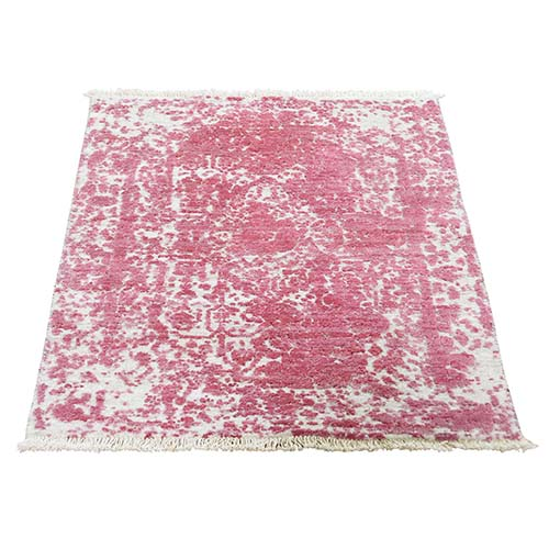 Pink Broken Persian Design Wool and Silk Hand-Knotted Oriental