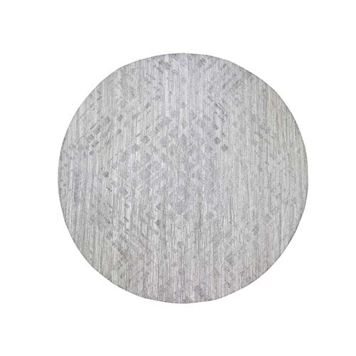 Silver Round Hand Spun Undyed Natural Wool Modern Hand-Knotted Oriental