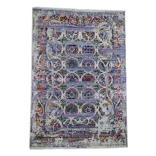 ERASED ROSSETS, Colorful Sari Silk With Textured Wool Hand-Knotted Oriental Rug