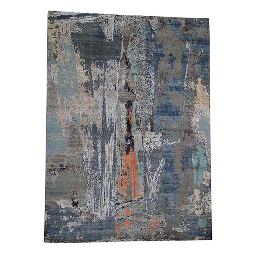 Blue Abstract Design Pure Silk With Oxidized Wool Hand-Knotted Oriental