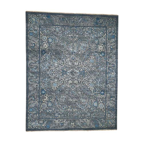 Blue Transitional Kashan Design with Wool and Raised Silk Hand Knotted Oriental