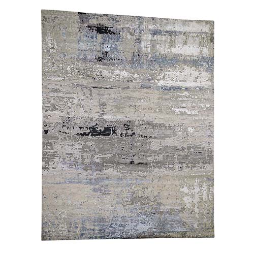 Hand-Knotted Gray Abstract Design Wool and Silk Oriental Rug
