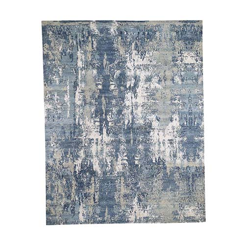 Blue-Gray Abstract Design Wool and Pure Silk Hand-Knotted Oriental