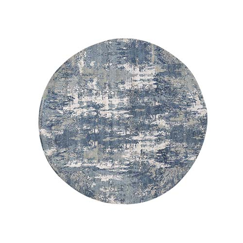 Blue-Gray Abstract Design Wool and Pure Silk Hand-Knotted Round Oriental