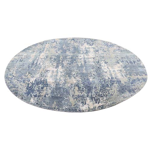 Blue-Gray Abstract Design Wool and Silk Hand-Knotted Round Oriental