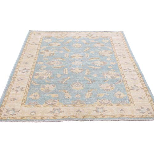 Sky Blue Pure Wool Peshawar Hand-Knotted Oriental