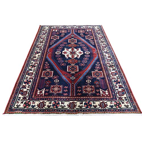 Navy New Persian Hamadan Pure Wool Hand-Knotted Oriental