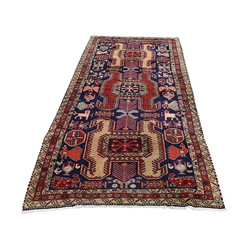 Vintage North West Persian With Peacocks And Lions Wide Runner Hand-Knotted Oriental