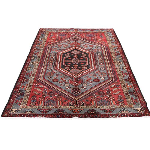 New Persian Hamadan Pure Wool Red Hand-Knotted Oriental Rug