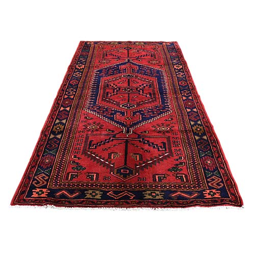 New Persian Hamadan Pure Wool Wide Runner Red Hand-Knotted Oriental