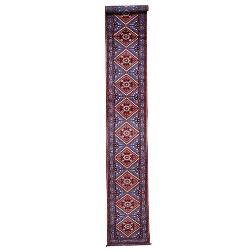 Blue New Persian Hamadan Pure Wool XL Runner Hand-Knotted Oriental