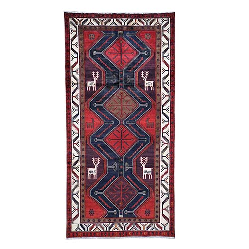Red New Persian With Deers Pure Wool Wide Runner Hand-Knotted Oriental