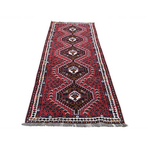 Red New persian Shiraz Full Pile Pure Wool Runner Hand-Knotted Oriental Rug