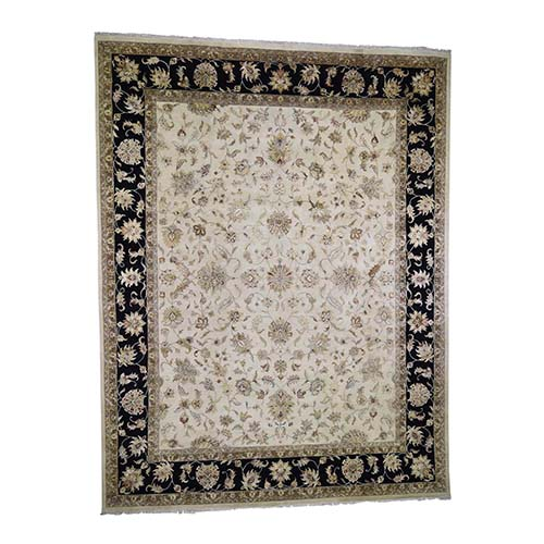 Oversized Hand-Knotted Half Wool And Half Silk Rajasthan Oriental Rug