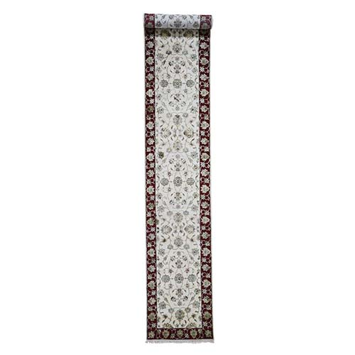 Hand-Knotted Half Wool and Half Silk Rajasthan XL Runner Oriental Rug