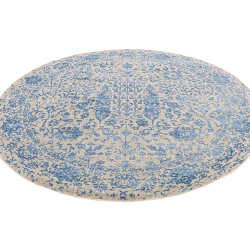 Round Blue Broken Cypress Tree Design Wool And Silk Thick Hand-Loomed Oriental