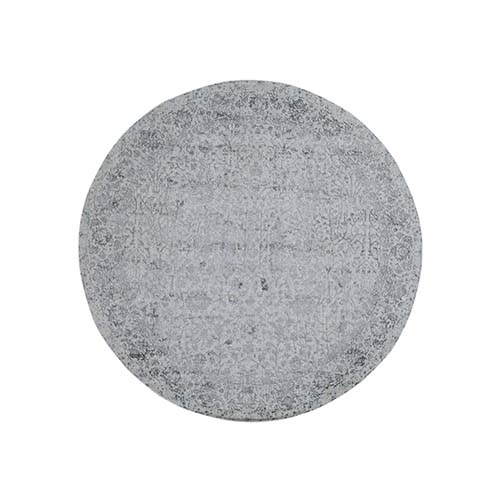 jacquard Hand-Loomed Gray Broken Cypress Tree Design Wool And Silk Thick And Plush Round  Oriental