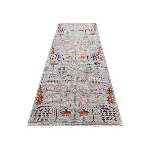Gray Peshawar Willow And Cypress Tree Design Hand-Knotted Oriental Runner