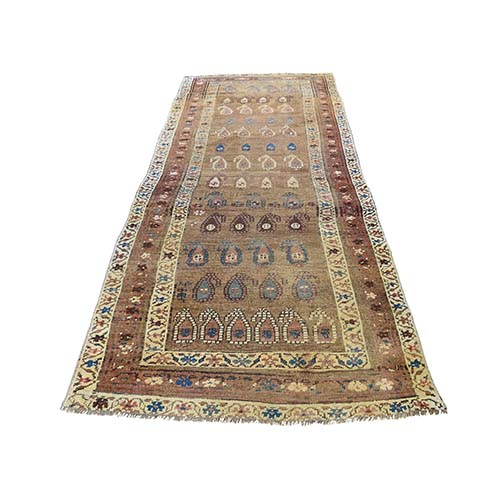 Antique Persian North West Boteh Design Camel Hair Wide Runner Hand-Knotted Oriental Rug