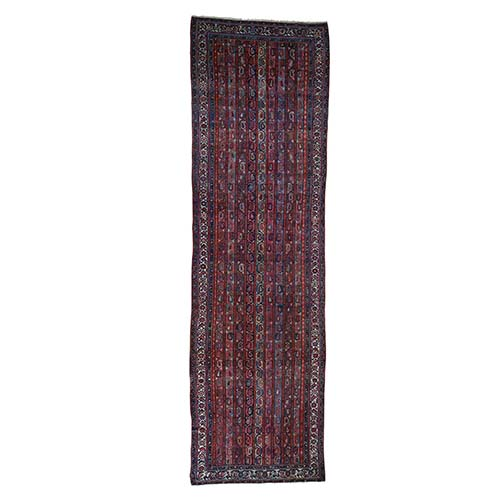 Antique Persian Malayer Wide Gallery Runner Shawl Design Hand-Knotted Oriental Rug