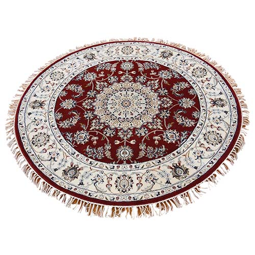 Wool And Silk 250 Kpsi Hand-Knotted Red Nain Round Oriental Rug