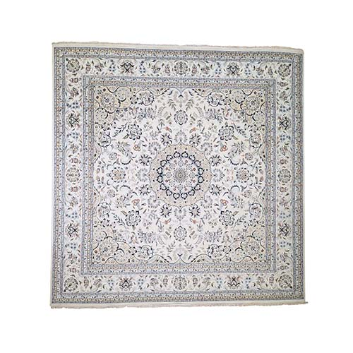 Nain 250 KPSI Square Wool And Silk Oriental Hand-Knotted Oriental Rug