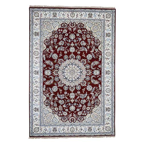 Wool and Silk 250 KPSI Red Nain Hand-Knotted Oriental Rug