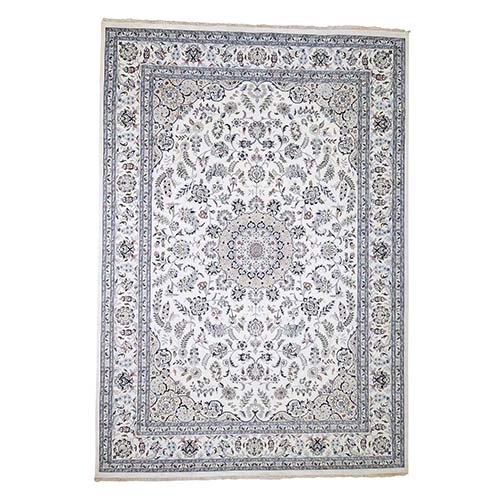 Wool and Silk 250 KPSI Ivory Nain Hand-Knotted Oriental Rug