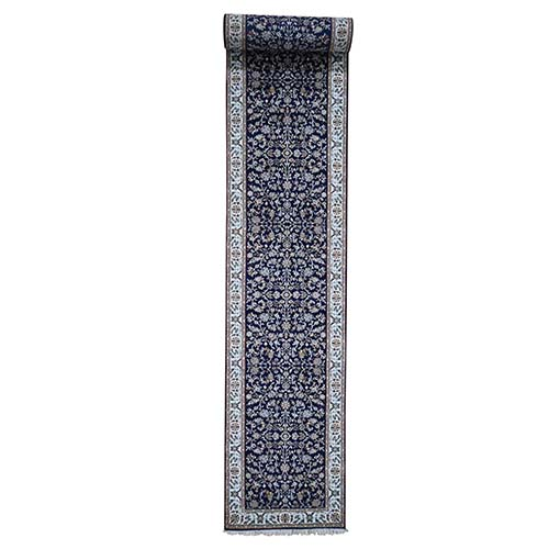 Wool and Silk 250 KPSI All Over Design Navy Blue Nain Hand-Knotted Oriental XL Runner