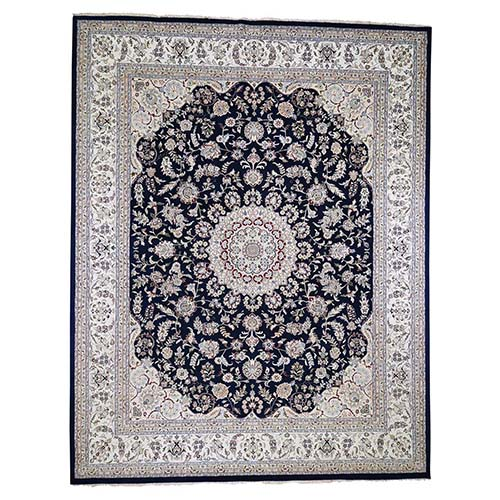 Oversized Wool and Silk 250 KPSI Navy Blue Nain Hand-Knotted Oriental Rug