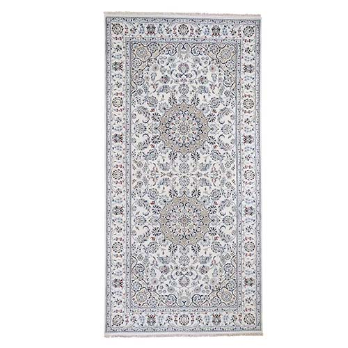 Wool and Silk 250 KPSI Ivory Nain Hand-Knotted Wide Gallery Oriental Rug