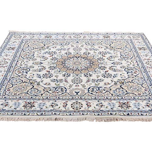 Square Wool and Silk 250 KPSI Ivory Nain Hand-Knotted Oriental Rug