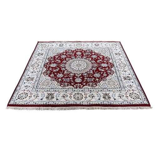 Square Wool and Silk 250 KPSI Red Nain Hand-Knotted Oriental Rug