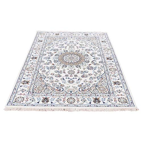 250 KPSI Ivory Nain Wool and Silk Hand-Knotted Oriental Rug
