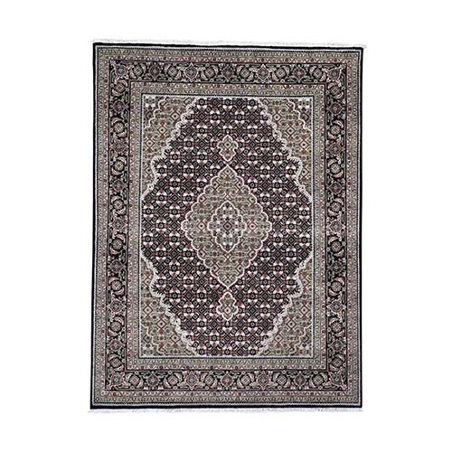 Black Tabriz Mahi Wool and Silk Hand-Knotted Oriental Rug