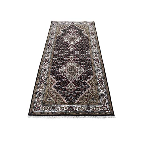 Black Tabriz Mahi Wool and Silk Hand-Knotted Oriental Runner Rug
