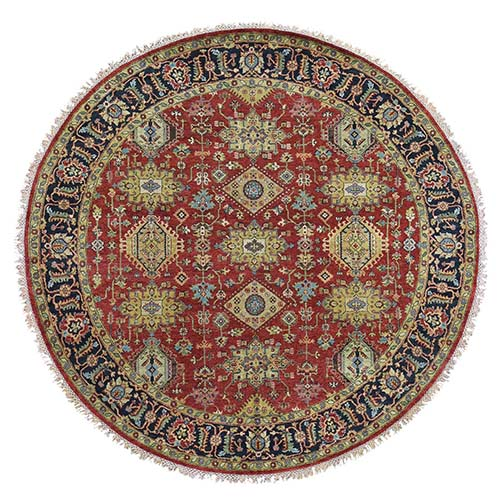 Red Karajeh Design Pure Wool Hand-Knotted Oriental Round