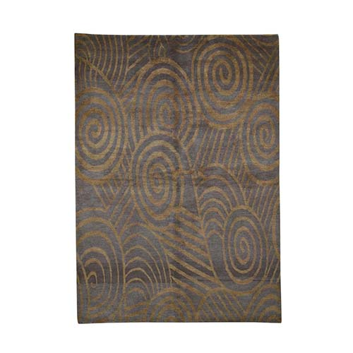 Brown Modern Hand Knotted Pure Wool Oriental